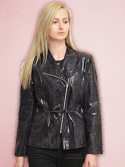 Higgs Leathers SOLD!  Angelia (black Glazed Leather fitted jacket)